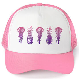 Girls Lacrosse Trucker Hat Lax Pineapples Gradient