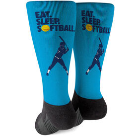 Softball Printed Mid-Calf Socks - Eat Sleep Softball