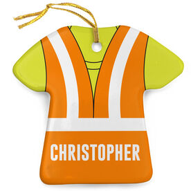 Personalized Porcelain Ornament - Construction Outfit