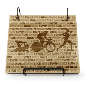 Engraved Bamboo Wood BibFOLIO® Race Bib Album - Swim Bike Run Repeat Guys
