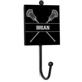 Guys Lacrosse Medal Hook - Lacrosse Crossed Sticks With Name