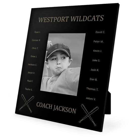 Baseball Engraved Picture Frame - Team Name With Roster (Coach)