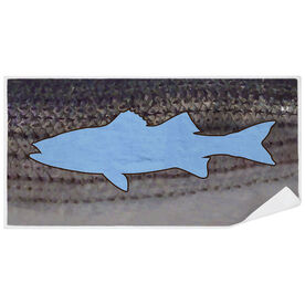 Fly Fishing Premium Beach Towel - Striper with Silhouette
