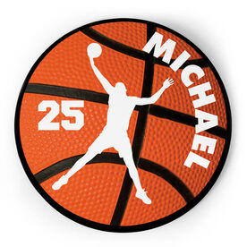 Basketball Circle Plaque - B-ball Guy With Name and Number