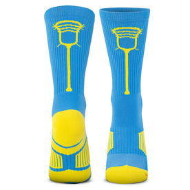 Guys Lacrosse Woven Mid-Calf Socks - Single Stick (Light Blue/Yellow)