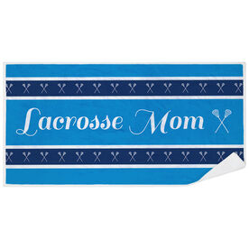 Girls Lacrosse Premium Beach Towel - Mom Stripe