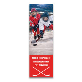 """Hockey 12.5"""" X 4"""" Removable Wall Tile - Personalized Photo"""