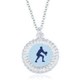 Volleyball Braided Circle Necklace - Male Player Silhouette