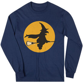 Girls Lacrosse Long Sleeve T-Shirt - Witch Riding Lacrosse Stick