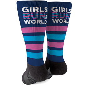 Running Printed Mid-Calf Socks - Girls Run The World