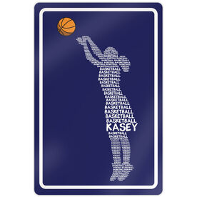 """Basketball Aluminum Room Sign Personalized Basketball Words Girl (18"""" X 12"""")"""