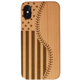 Baseball Engraved Wood IPhone® Case - Baseball American Stitches