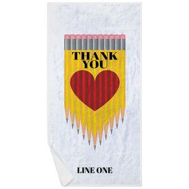Personalized Premium Beach Towel - Teacher Thank You Pencil Heart