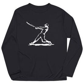 Baseball Long Sleeve Performance Tee - Baseball Player