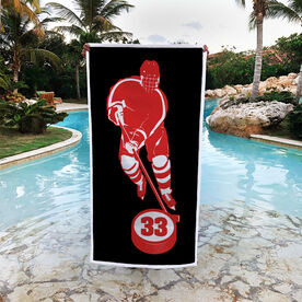 Hockey Premium Beach Towel - Personalized Skater with Puck