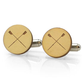 Crew Engraved Wood Cufflinks Crossed Oars