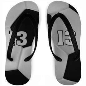 Soccer Flip Flops Personalized Ball Full Coverage