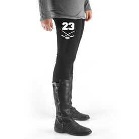 Hockey High Print Leggings - Crossed Sticks With Number