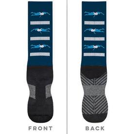 Swimming Printed Mid-Calf Socks - Swim Meet Girls