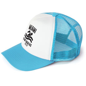 Swimming Trucker Hat - Team Name With Curved Text