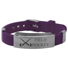 Field Hockey Crossed Sticks Silicone Bracelet