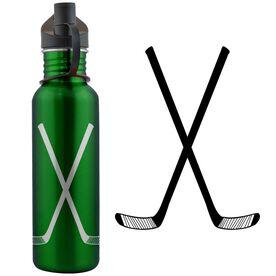 Hockey Crossed Sticks 24 oz Stainless Steel Water Bottle