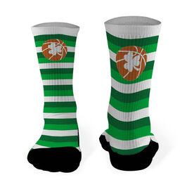 Basketball Printed Mid Calf Socks Basketball Shamrock with Stripes