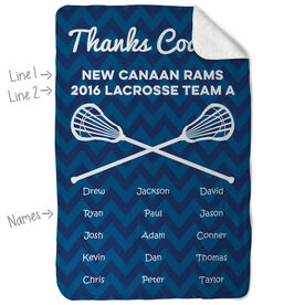 Guys Lacrosse Sherpa Fleece Blanket Personalized Thanks Coach Chevron