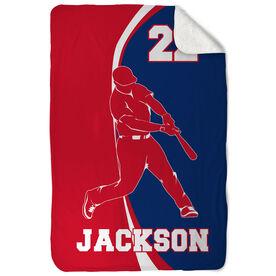 Baseball Sherpa Fleece Blanket Personalized Batter