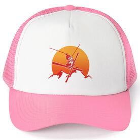 Skiing Trucker Hat Sunset