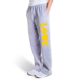 Softball Fleece Sweatpants - Softball Love (Yellow)
