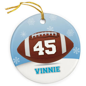 Football Porcelain Ornament Personalized Football with Winter Background