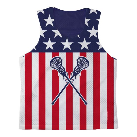 Girls Lacrosse Racerback Pinnie USA Lax Girl - Navy Interior