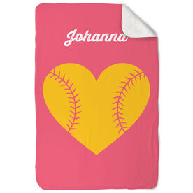Softball Sherpa Fleece Blanket Custom Stitched Heart