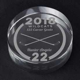 Hockey Personalized Engraved Crystal Puck - Custom Team Award