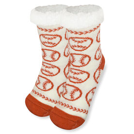 Baseball Slipper Socks with Sherpa Lining