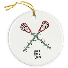Guys Lacrosse Porcelain Ornament Custom Crossed Lacrosse Sticks