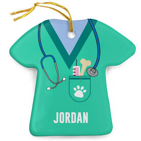 Personalized Porcelain Ornament - Veterinarian Scrubs
