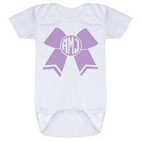 Cheerleading Baby One-Piece - Monogrammed Cheer Bow