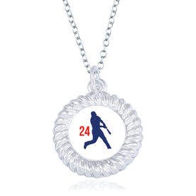 Baseball Braided Circle Necklace - Batter Silhouette With Number