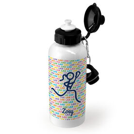 Girls Lacrosse 20 oz. Stainless Steel Water Bottle - Lax Lax Lax With Female Lacrosse Stick Figure