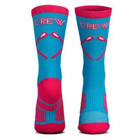 Crew Woven Mid Calf Socks - Crossed Oars (Light Blue/Pink)