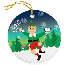 Rugby Porcelain Ornament Christmas Elf