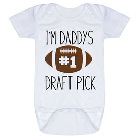 Football Baby One-Piece - I'm Daddy's #1 Draft Pick