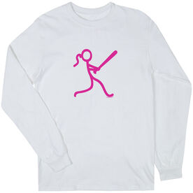 Softball Tshirt Long Sleeve Stick Figure Batter