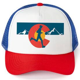 Running Trucker Hat - Colorado Flag Male Runner