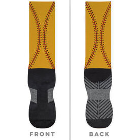 Softball Printed Mid-Calf Socks - Color Stitches