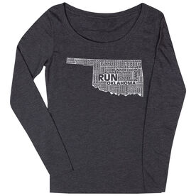 Women's Scoop Neck Long Sleeve Runners Tee Oklahoma State Runner
