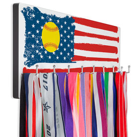 Softball Hooked on Medals Hanger - American Flag