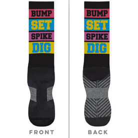 Volleyball Printed Mid-Calf Socks - Words Colorful